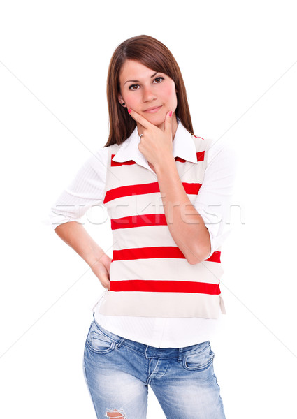Woman pondering Stock photo © kalozzolak