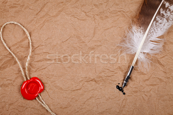 Wax seal and quill pen Stock photo © kalozzolak