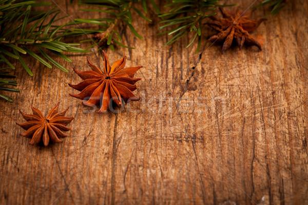 Estrela anis ramo rústico natal Foto stock © kalozzolak