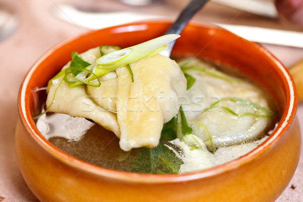 Indian food - Wonton soup Stock photo © kalozzolak