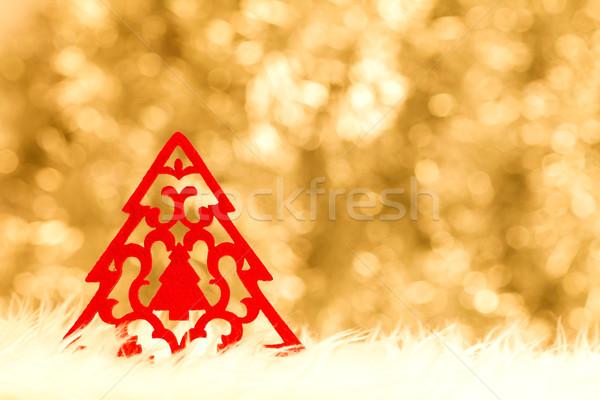 Handmade red Christmas tree Stock photo © kalozzolak