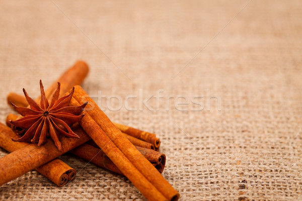 Burlap with cinnamon and star anise Stock photo © kalozzolak