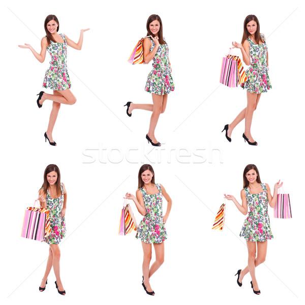 Felice donna shopping collage momenti bianco Foto d'archivio © kalozzolak