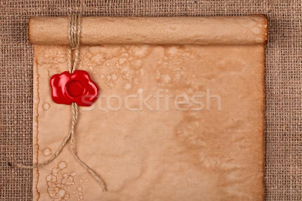 Stock fotó: Régi · pergamen · viasz · fóka · öreg · pergamen · piros