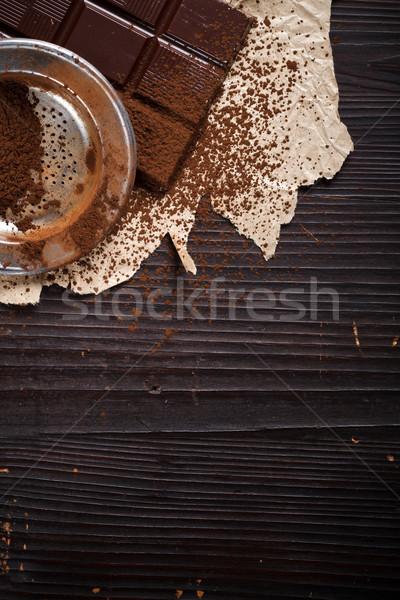 Por csokoládé szelet rusztikus étel háttér édes Stock fotó © kalozzolak