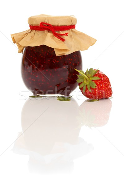 Lekvár edény eper közelkép friss izolált Stock fotó © kalozzolak