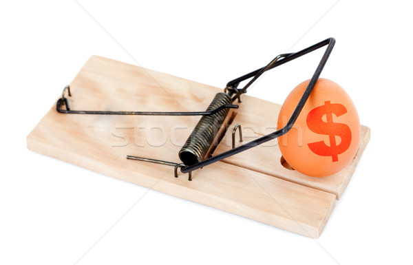 Egg with symbol of dollar in mousetrap Stock photo © kalozzolak