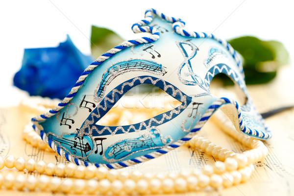 Stockfoto: Carnaval · masker · Blauw · witte · muziek · papier