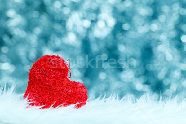 Eenzaam Rood hart string kant Blauw Stockfoto © kalozzolak