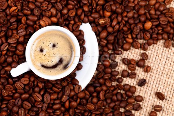 Foto stock: Copo · café · rosto · sorridente · grãos · de · café · pano · de · saco · cara
