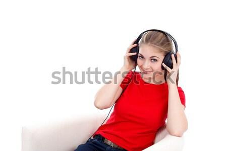 слушать музыку девушки наушники прослушивании женщину Сток-фото © kalozzolak