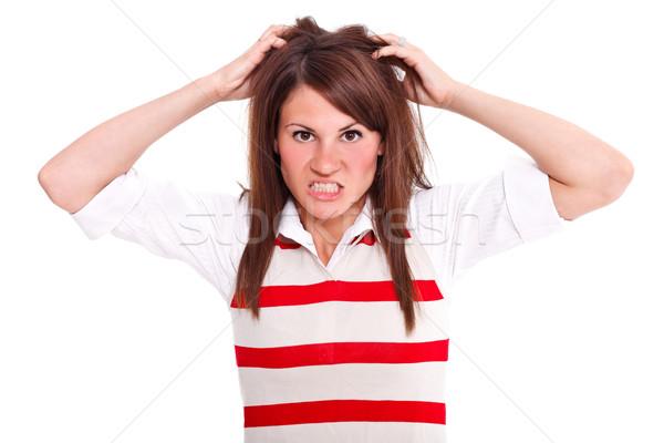 сердиться женщину фотография молодые изолированный белый Сток-фото © kalozzolak