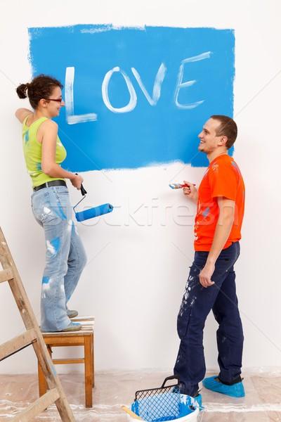 Liefde bekentenis home jonge vrouwelijke Stockfoto © kalozzolak