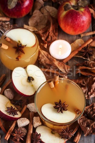 Sıcak elma elma şarabı tarçın baharatlar düşmek Stok fotoğraf © Karaidel