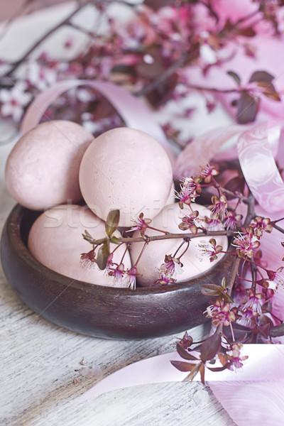 Foto d'archivio: Rosa · easter · eggs · fiore · ramo · legno · ciotola
