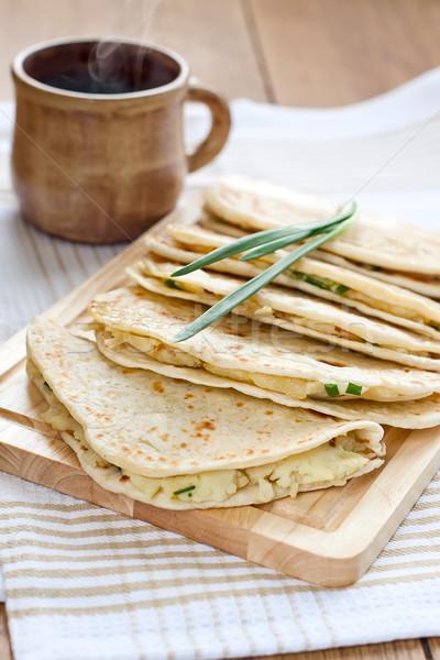 Flatbread with mashed potato and spring onion Stock photo © Karaidel