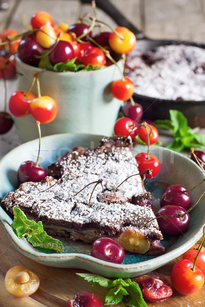 Clafoutis with cherry Stock photo © Karaidel