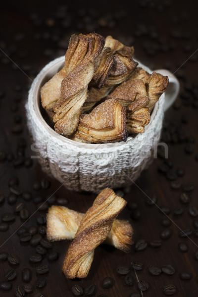 Kurabiye fincan ev yapımı şeker kahve fincanı örgü Stok fotoğraf © Karaidel