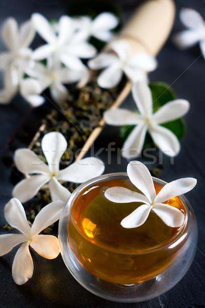Herbaty bambusa szufelka kwiat kwiat Zdjęcia stock © Karaidel