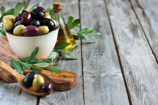 Сток-фото: смешанный · оливками · маринованный · зеленый · черный · Purple