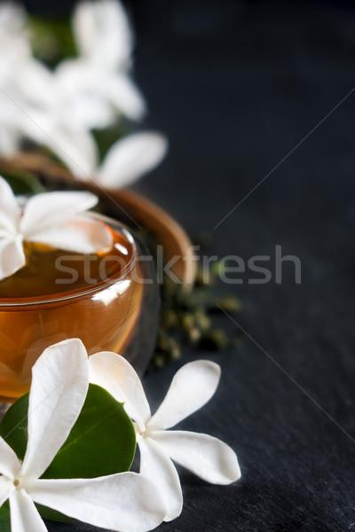 Herbaty bambusa szufelka kwiat kopia przestrzeń Zdjęcia stock © Karaidel