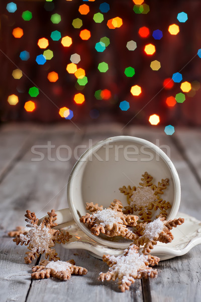 クリスマス クッキー カップ スノーフレーク ジンジャーブレッド 花輪 ストックフォト © Karaidel