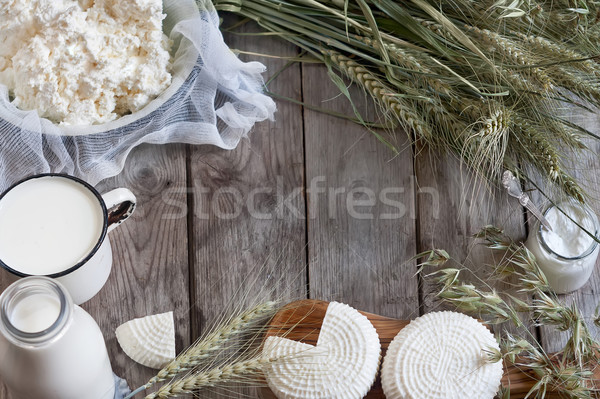 Dairy products and grains background Stock photo © Karaidel