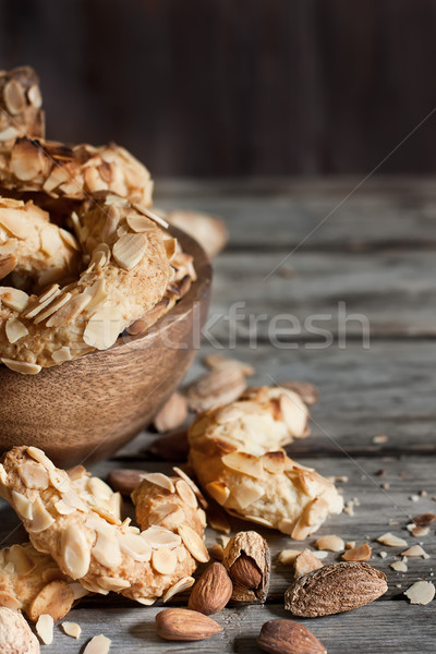 полумесяц миндаль Cookies домашний старое дерево торт Сток-фото © Karaidel