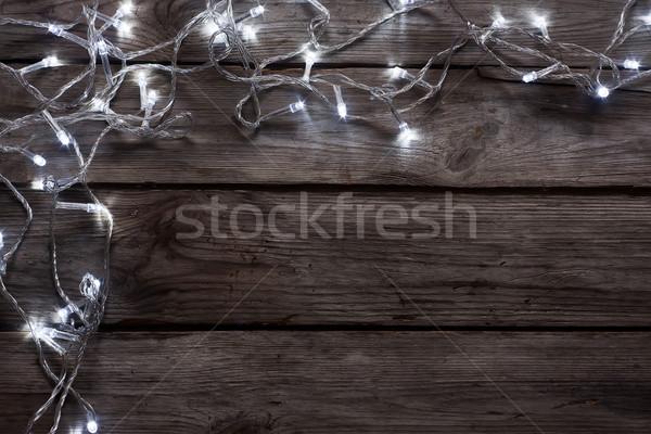 Рождества гирлянда Vintage копия пространства дерево счастливым Сток-фото © Karaidel