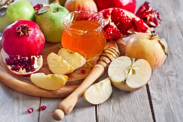 Nar elma bal elma geleneksel gıda Stok fotoğraf © Karaidel