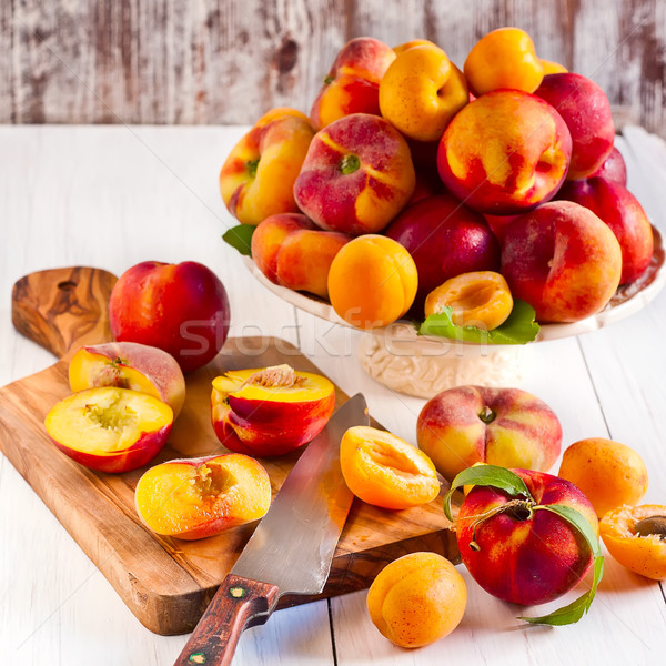 Apricots, nectarines and saturn peaches Stock photo © Karaidel