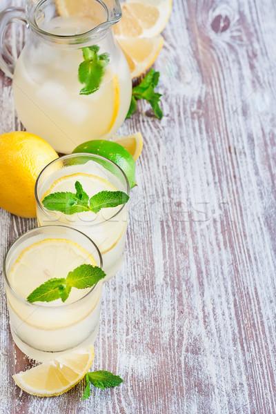 Nane limonata gözlük seçici odak bo parti Stok fotoğraf © Karaidel