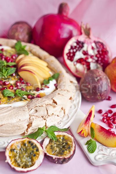 Pavlova with summer fruits Stock photo © Karaidel