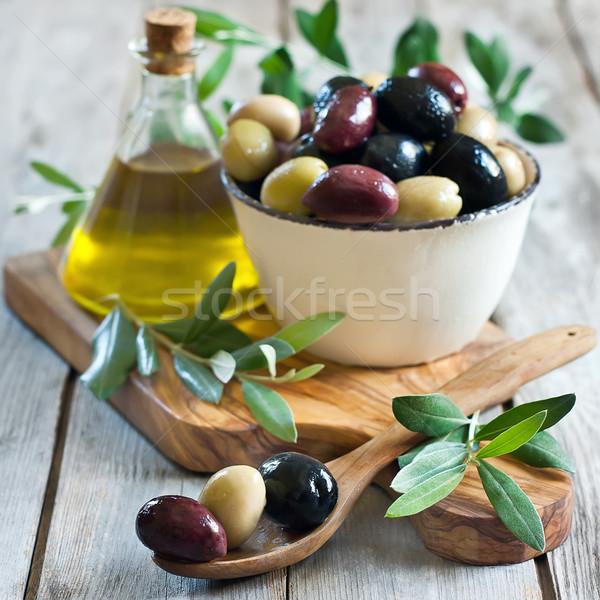 Foto stock: Misto · azeitonas · marinado · verde · preto · roxo