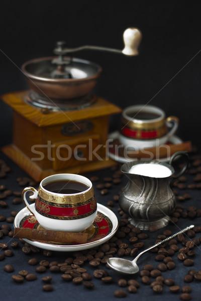 Kahve değirmen iki bakır gümüş Stok fotoğraf © Karaidel