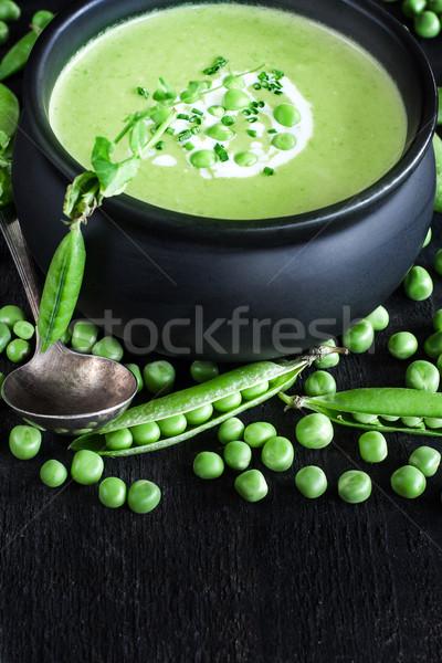 Foto stock: Verde · chícharos · sopa · oscuro · bajo