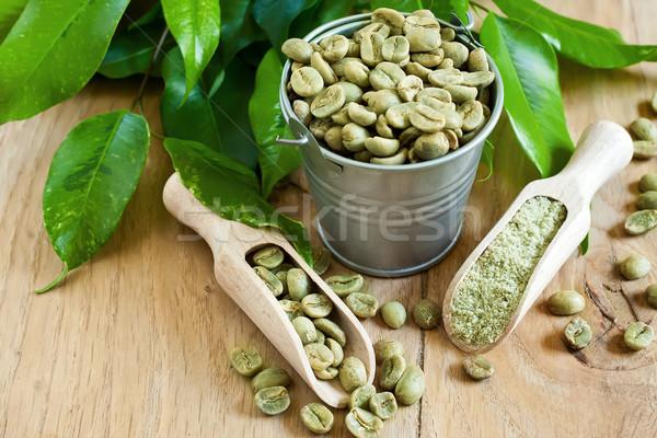 Zielone kawy fasola ziemi selektywne focus żywności Zdjęcia stock © Karaidel