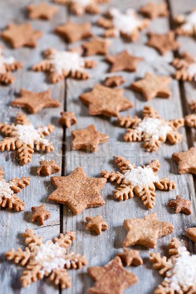 Noel kurabiye kar tanesi zencefilli çörek ahşap gıda Stok fotoğraf © Karaidel