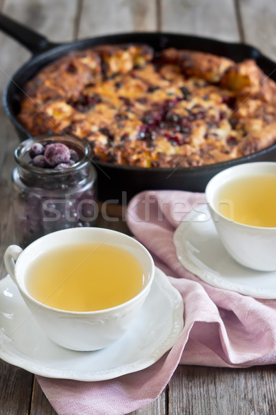 Black currant pie with tea Stock photo © Karaidel