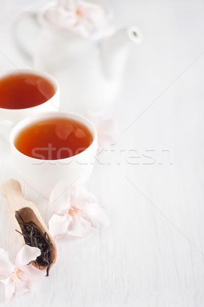 Oolong çay kepçe demlik ışık gül Stok fotoğraf © Karaidel