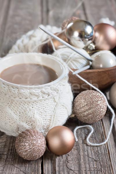 Natal café copo lã tricotado Foto stock © Karaidel