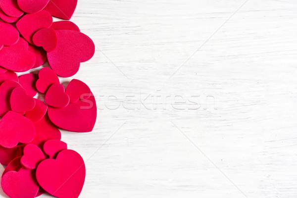 Kalpler boyut sevgililer günü beyaz ahşap Stok fotoğraf © Karaidel