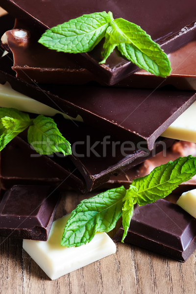 çikolata kule nane taze yaprakları Stok fotoğraf © Karaidel