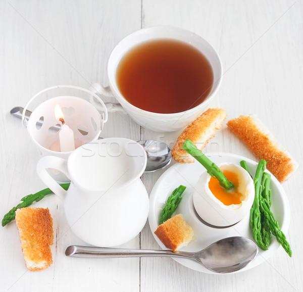 ソフト ゆで卵 卵 アスパラガス トースト ストックフォト © Karaidel
