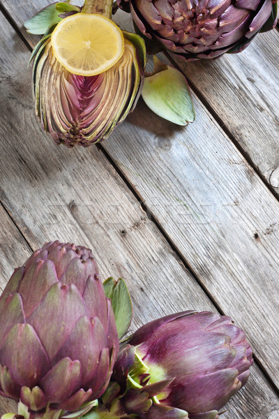 Corner background with artichokes Stock photo © Karaidel