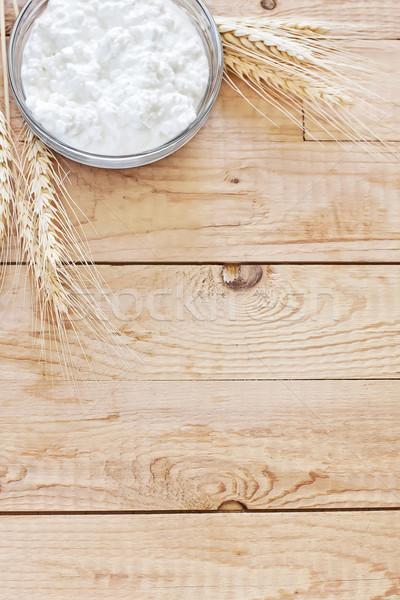 Túró magvak búzaszemek copy space fa háttér Stock fotó © Karaidel