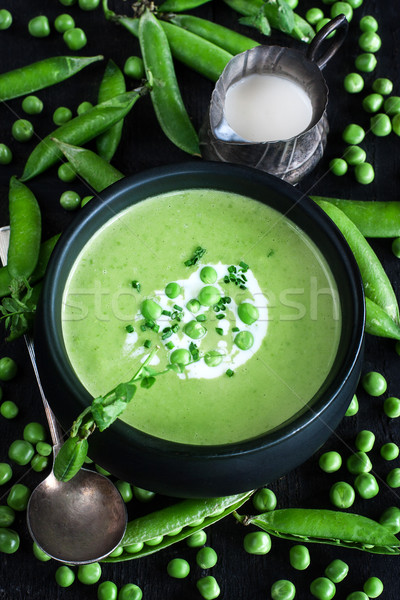 Green peas soup Stock photo © Karaidel