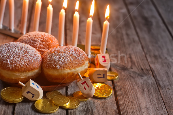 Hannukah doughnuts background Stock photo © Karaidel