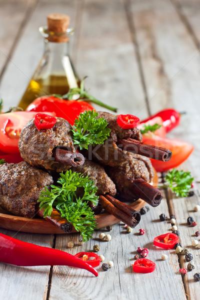 Kebab on cinnamon sticks Stock photo © Karaidel