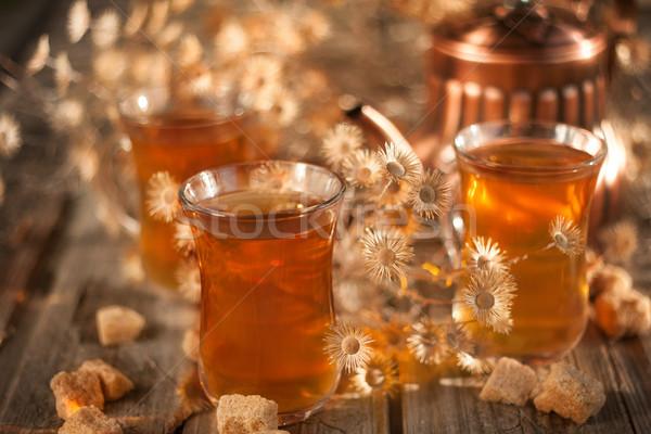 Herbaty wyschnięcia kwiaty miedź czajniczek Zdjęcia stock © Karaidel